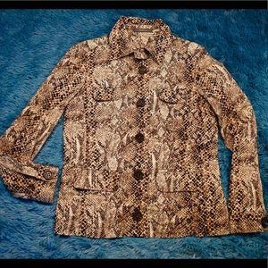 Liz Claiborne snake print jacket 10 button up